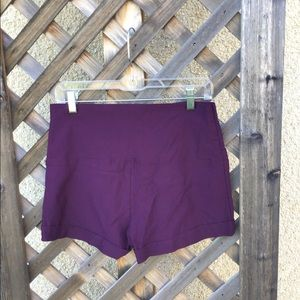 Charlotte Russe purple stretchy shorts w/ zipper.